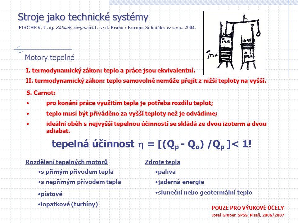 tepelná účinnost h = [(Qp - Qo) /Qp ]< 1!